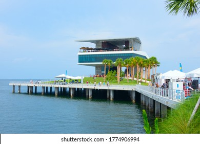 Saint Petersburg, Florida / USA - July 11, 2020: The new St. Pete Pier in Saint Petersburg, Florida,  during its grand opening weekend in July 2020, closeup of building with restaurants at the end.
