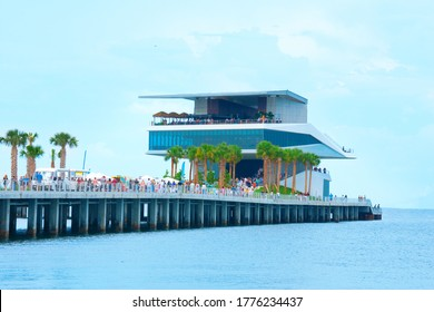 Saint Petersburg, Florida / USA - July 11, 2020: The restaurants building on the end of the new St. Pete Pier in Saint Petersburg, Florida, during its grand opening weekend in July 2020.