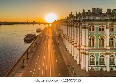 Saint Petersburg. Hermitage. Sunrise over Petersburg. Palace Embankment. Russia. Streets of Petersburg. Neva River. Museums.