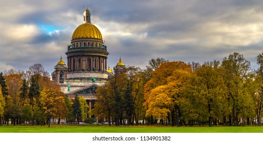 Saint Petersburg. Saint Isaac's Cathedral. Panorama of Petersburg. Historical Architecture. Russia. St. Isaac's Cathedral Autumn. Autumn Petersburg.