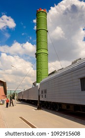 SAINT PETERSBURG - MAY 17, 2018: Mobile missle system module Molodets (Scalpel) at the exterior part of the Museum RZD (Russian Rail Ways)