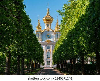 SAINT PETERSBURG - MAY, 2018: Peterhof palace and gardens. The Peterhof Palace is included in the UNESCO's World Heritage List.