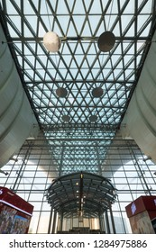 SAINT PETERSBURG - MAY, 2018: Pulkovo International Airport architectural detail.