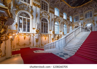 SAINT PETERSBURG - MAY, 2018: Winter Palace interior view with staircase - The Hermitage.