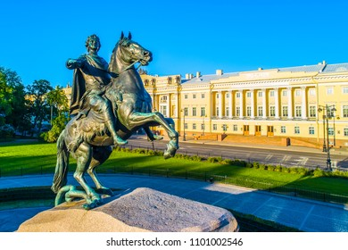 Saint Petersburg. Monument to Peter the Great. Russia. The Bronze Horseman in Petersburg. Architecture of Russia. Summer in St. Petersburg.