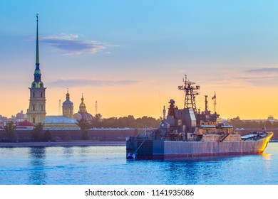 Saint Petersburg. Neva River. Warships in St. Petersburg. Russia. Usteny Petersburg. Peter-Pavel's Fortress. Military carols in the background of the city. Military ships of Russia.