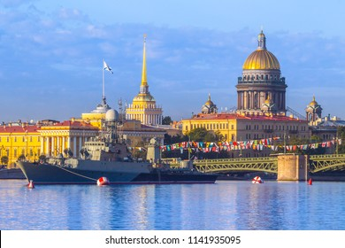 Saint Petersburg. Neva River. Warships in St. Petersburg. Russia. Usteny Petersburg. Saint Isaac's Cathedral. Military carols in the background of the city. Military ships of Russia.