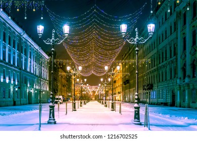 Saint Petersburg. New year in Russia. Christmas in St. Petersburg. Decoration of the streets of St. Petersburg. New Year's celebration. Winter.