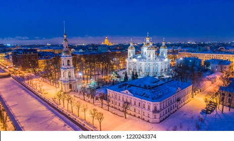Saint Petersburg. Nikolsky Cathedral. Petersburg in the winter. Russia. Architecture of Petersburg. Architecture of Russia. Bridges and canals of St. Petersburg. Cities of Russia.