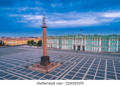 Saint Petersburg. Palace Square. View of the city of St. Petersburg from a height. Center of Petersburg. Russia. Architecture of Petersburg. Hermitage. Alexandria pillar.