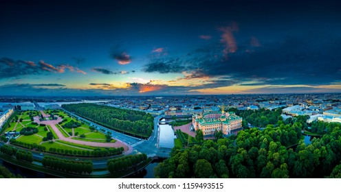 Saint Petersburg. Panorama of the city from a height. The Field of Mars in Petersburg. The engineering castle in St. Petersburg. Panorama of Russian cities. Streets of St. Petersburg.