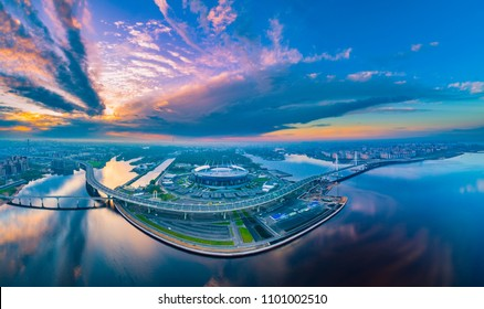 Saint Petersburg. Panorama of  Petersburg. Russia. White nights in Petersburg. Neva River. The Gulf of Finland. Vasilievsky Island in St. Petersburg. Embankment of the city. Expressway in St. Piter