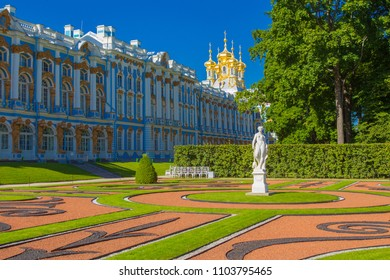Saint Petersburg. Park in summer. The city of Pushkin. Russia. Summer day in St. Petersburg. Architecture of Russia.