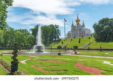 Saint Petersburg, Peterhof, Russia 07.06.2021: Panorama at Peterhof with fountain near the palace at sunny day