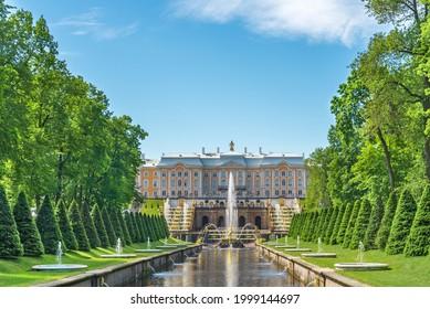 Saint Petersburg, Peterhof, Russia 07.06.2021: A channel and fountains in Peterhof near Peterhof Palace