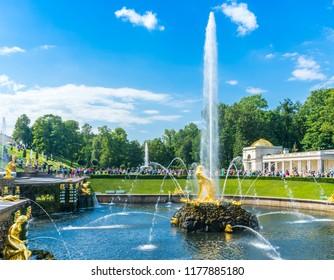 """Saint Petersburg, Peterhof, Russia, July 24, 2018. Fountain """"Samson"""" in the lower park of Peterhof"""