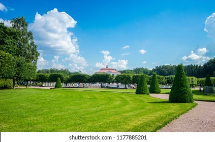 Saint Petersburg, Peterhof, Russia, July 24, 2018. The lower park of Peterhof near the Marley Palace