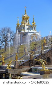 Saint Petersburg, Peterhof, RUSSIA — MAY 03, 2017: Court Church of the Holy apostles Peter and Paul the Grand Palace of Peterhof