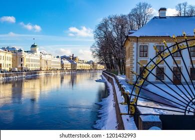 Saint Petersburg. River Fontanka. Channels of St. Petersburg. Petersburg in the winter. Russian cities. Streets of St. Petersburg.
