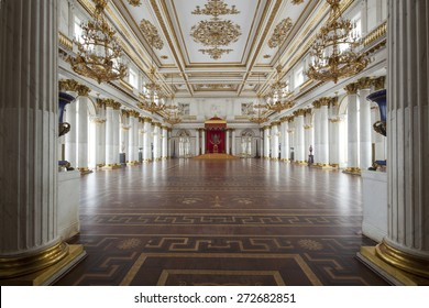 Saint Petersburg, Russia - 03 March 2015 : Imperial palace and throne in Saint Petersburg with gold walls