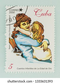 Saint Petersburg, RUSSIA - 06 March, 2019: A stamp printed in Cuba shows daughter hugs mother, Cuban, circa 2000