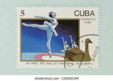 Saint Petersburg, RUSSIA - 06 March, 2019: A stamp printed in Cuba shows national ballet cubes, circa 1988