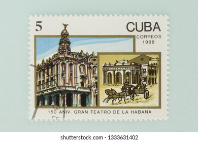 Saint Petersburg, RUSSIA - 06 March, 2019: A stamp printed in Cuba shows big theater habana, circa 1988