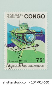 Saint Petersburg, RUSSIA - 06 March, 2019: A stamp printed in Congo shows Transport PC-1202, Deep Sea Submersibles serie, circa 1993