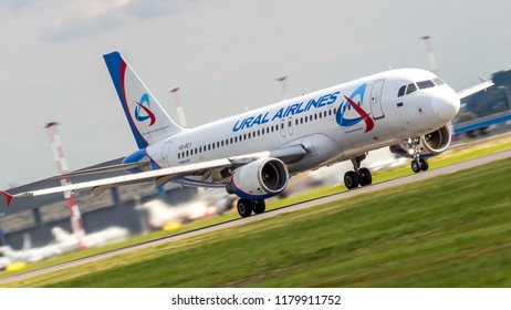 """Saint Petersburg, Russia - 08/16/2018: Airbus A320 airline """"Ural Airlines"""" VQ-BGY takes off from the airport Pulkovo"""