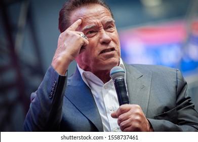 Saint Petersburg / Russia - 10.04. 2019:  Arnold Schwarzenegger at  Synergy Global Forum 2019