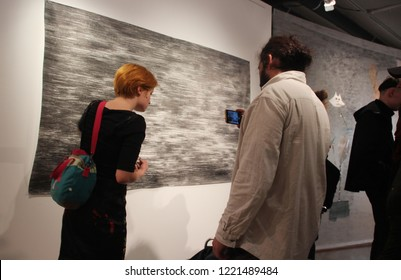 """Saint Petersburg / Russia - 11.02.2018:    Opening of the exhibition of abstract art """"Good mine"""" in the framework of the VI Baltic Biennale in New museum of Aslan Chekhoev."""