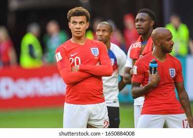 SAINT PETERSBURG, RUSSIA: 14 July 2018 Dele Alli (L) and Fabian Delph of England after the Russia 2018 World Cup play-off for third place football match between Belgium and England