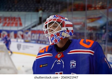 Saint Petersburg, Russia - 19 October 2021: Hockey, KHL 2021-22, SKA Saint Petersburg Vs Jokerit Helsinki. The player of hockey club SKA Lars Johansson