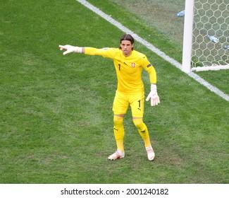 Saint Petersburg, Russia - 2 July 2021: Football. European Football Championship 2020. Quarter-finals. Switzerland vs Spain. National Team player Yann Sommer