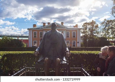 SAINT PETERSBURG, RUSSIA - 25 SEPTEMBER 2018: Statue of Peter the Great by Mihail Chemiakin in Petropavlovsk Castle.