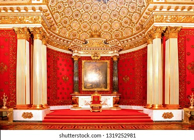 SAINT PETERSBURG, RUSSIA 25.08.2016.: Interior of the State Hermitage (Winter Palace), Small Throne Hall. Hermitage is one of the largest and oldest museums of art and culture in the world