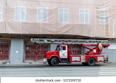 Saint Petersburg, Russia / 26.11.2019 / old fire truck on street