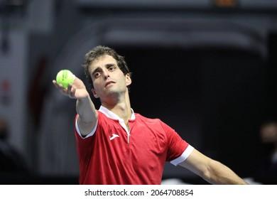 Saint Petersburg, Russia - 27 october 2021: Tennis. Albert Ramos-Vinolas plays during a match against Marin Cilic at the St.Petersburg Open 2021 tennis tournament. Albert Ramos-Vinolas.
