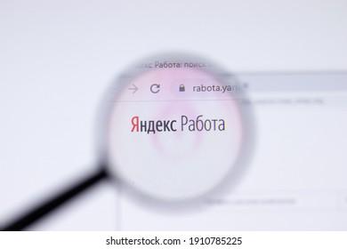 Saint Petersburg, Russia - 28 January 2021: Yandex Rabota website page with logo close-up, Illustrative Editorial