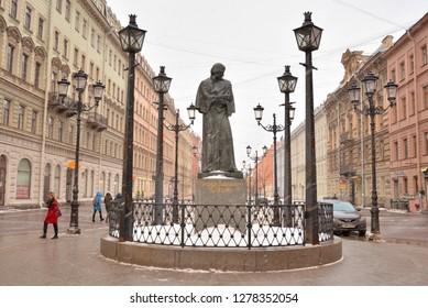 SAINT PETERSBURG, RUSSIA - 30 DECEMBER 2018: Monument to the writer Gogol on Malaya Konyushennaya street in St.Petersburg.