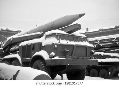 SAINT PETERSBURG, RUSSIA - 5 JANUARY 2018: Launcher 2P113 with a rocket 2M21 missile complex 9K52 Luna-M in Artillery Museum. Soviet tactical missile system. Adopted in 1964. Black and white.