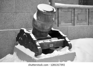 SAINT PETERSBURG, RUSSIA - 5 JANUARY 2018: Old mortar in Military Artillery Museum in St.Petersburg, Russia. Black and white.