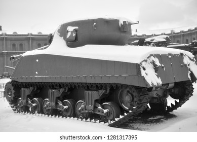SAINT PETERSBURG, RUSSIA - 5 JANUARY 2018: The M4 Sherman was the main American medium tank of the World War II period in Military Artillery Museum in St.Petersburg, Russia. Black and white.