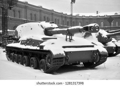SAINT PETERSBURG, RUSSIA - 5 JANUARY 2018: 152mm self-propelled cannon 2S3 Acacia in Military Artillery Museum. Adopted in 1970. Black and white.