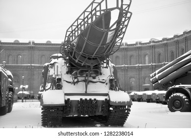 SAINT PETERSBURG, RUSSIA - 5 JANUARY 2019: Launcher 2P19 with a rocket 8K14 of missile complex 9K72 Elbrus in Military Artillery Museum. NATO classification - SS-1c Scud B. Adopted in 1962.