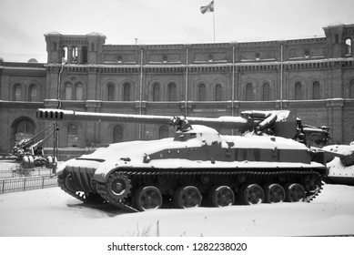 SAINT PETERSBURG, RUSSIA - 5 JANUARY 2019: 152mm self-propelled cannon 2S5 Giazint-S in Military Artillery Museum. Adopted in 1975.