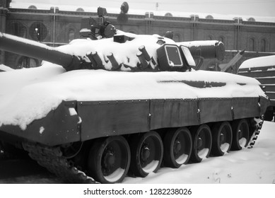 SAINT PETERSBURG, RUSSIA - 5 JANUARY 2019: Russian tank T-80 in Military Artillery Museum. T-80 - main battle tank produced in the USSR. Armed with the army of the USSR since 1976. Black and white.