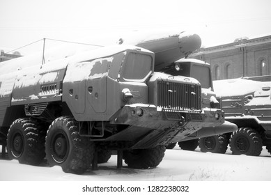 SAINT PETERSBURG, RUSSIA - 5 JANUARY 2019: Launcher of missile complex in Military Historical Museum of Artillery, Engineers and Signal Corps. Black and white.