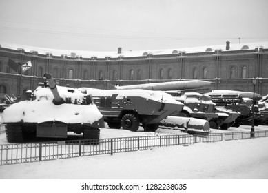SAINT PETERSBURG, RUSSIA - 5 JANUARY 2019: Old military equipment in Military Artillery Museum in St.Petersburg. Black and white.