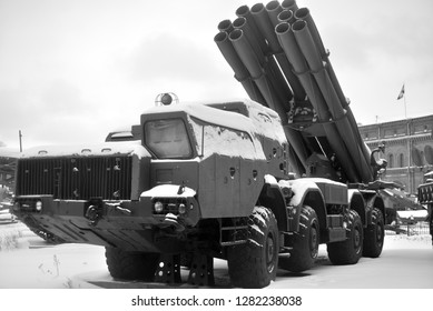SAINT PETERSBURG, RUSSIA - 5 JANUARY 2019: Fighting vehicle 9A52 300-mm multiple rocket launchers Smerch 9K58 in Military Artillery Museum. Adopted in 1987.
